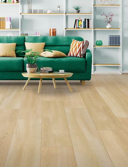 Green sofa on Laminate floor | Boyer's Floor Covering